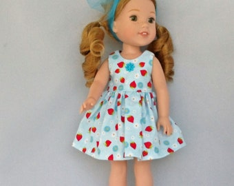 Strawberries and Daisies Doll Dress Handmade To Fit 14.5 Inch Dolls Like Wellie Wishers