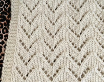 Lace Chevron Blanket Knitting Pattern, PDF, Aran, Instant Download
