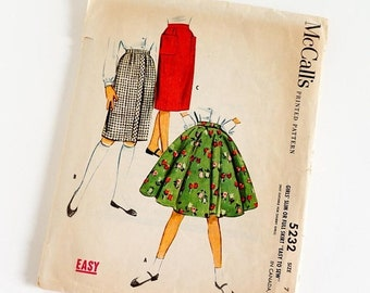 SALE Vintage 1950s Girls Size 7 Slim or Full Circle Skirt McCalls Sewing Pattern 5232 Complete / w22.5""