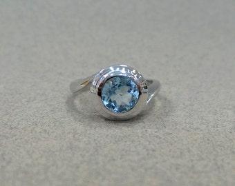 Blue Topaz Ring/ Blue Topaz Genuine 1.01 ct Sterling Silver Ring/ Sterling Silver Genuine Sky Blue Topaz Bezel Set Engagement Ring