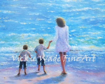 Mother and Two Sons Beach Art Print, mother and two boys, two beach boys, two brothers beach, sandy beach, loving mother, Vickie Wade Art