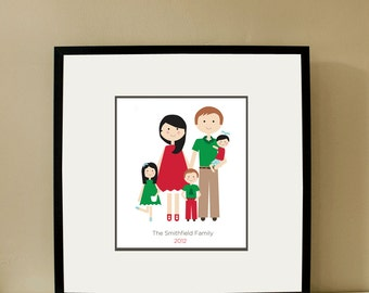 Custom Portrait, Family of Five, Family Portrait, Mothers Day,  Custom Family Portrait