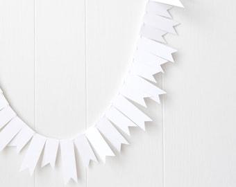 White Flag Garland / White Wedding Bunting /Christmas Bunting / Holiday Decor / Christmas Garland  / Party Decor / Photo Prop