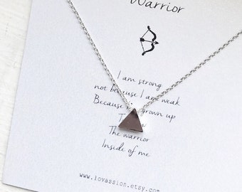 Silver triangle necklace, tiny triangle necklace, triangle necklace, dainty jewelry