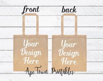 Digital Download Tote Bag Natural Front and Back - Put your own design mockup mock up canvas bag - png jpg