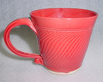 Red Wheel Thrown Pottery Mug Coffee Cup or Tea Cup with Chattering for Texture