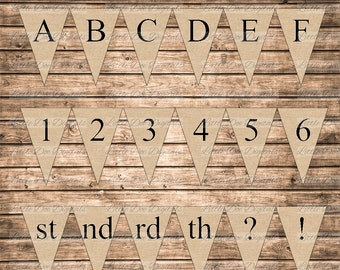 DIY Instant Download Burlap With Black Letters Printable Alphabet Letters Numbers Abbreviation Punctuation Marks Banner Bunting Pennant Sign