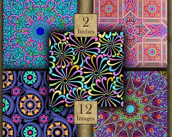 2 inch BRIGHT DESIGNS Digital Printable Squares for Magnets Pinbacks Crafts