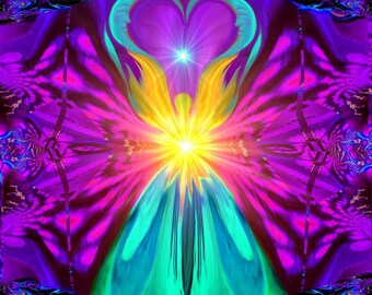 "Positive Reiki Energy, Moon Print, Rainbow Chakra Wall Art ""The Beacon"""