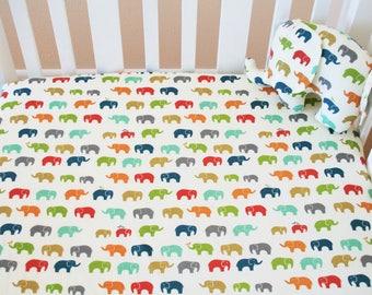 Organic Fitted Crib Sheet, Elephants, Organic Toddler Sheet, Organic Crib Sheet, Elephant Crib Sheet, Organic Toddler Bedding, Safari