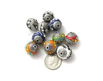 10 Handmade Indonesian Kashmiri Beads 15mm (b3m3/310a)