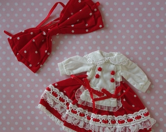 Red Lolita Polka Dot Dress & Bow Set * Blythe * Pullip *