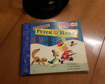 Vintage 1940s PETER and the WOLF Story BOOK and Two Records.