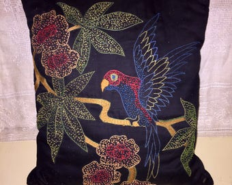 Antique Victorian Era Hand Embroidered Pillow Black Fabric Parrot Flowers Throw Pillow