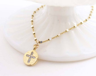 Dainty Cross Necklace, Hammered Gold Coin Charm, Cubic Zirconia Pendant, Silver and Gold Chain, Small Cross Necklace, Everyday Jewelry