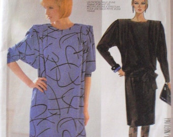 Liz Claiborne Sewing Pattern - Petiteable Pullover Boatneck Dress and Tie Belt - McCall's 2097 - Size 12, Bust 34, Uncut