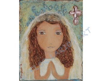 First Communion Girl  with Cross -  Giclee print mounted on Wood (4 x 5 inches) Folk Art  by FLOR LARIOS