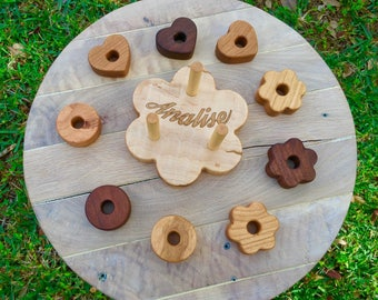 Personalized flower shaped Wooden Stacking toy