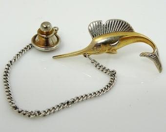Vintage Tie Tack Pin Swank Marlin Fish