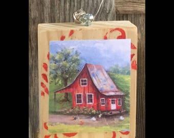 Mini Art, RED FARMHOUSE, ready to ship, Art Block, Ornament, Art Print