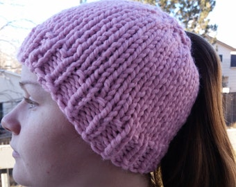 Hand Made, Messy Bun, Ponytail, Chunky, Hand Knit Beanie Hat in Pink