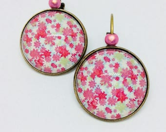 Sleeper liberty's pink floral cabochon