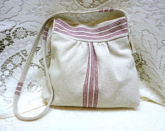 French Farmhouse Grain Sack Handbag Purse Red Stripe Lined Shoulder Cross-Body Strap