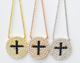 Cross Necklace, Shimmering with Cubic Zirconia • Price is a Bargain • Safe to get Wet • Will Be an Ideal Cross Gift to Give or Keep