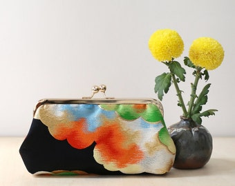Rainbow Clouds Silk Clutch   Upcycled from vintage Japanese Obi