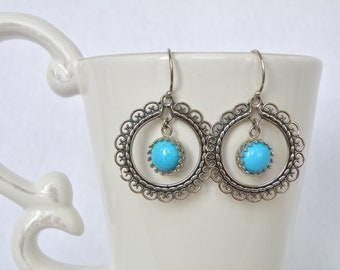 Fancy sterling silver and Sleeping Beauty Turquoise earring
