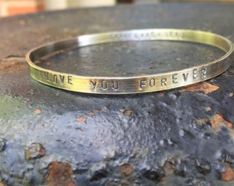 LOVE YOU FOREVER Oxidized Sterling Silver Bangle Bracelet Lullaby Nursery Rhyme Song Baby