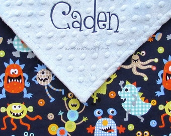 Monogram Baby Boy Blanket - Monster Baby Blanket - Personalize Minky Dot Blanket , for Baby Boys , Embroidery Baby Blanket , Monsters, 28x30