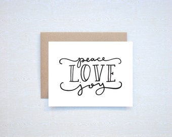 Peace Love Joy Christmas Holiday Card Letterpress Printed Handlettered Calligraphy Handlettering