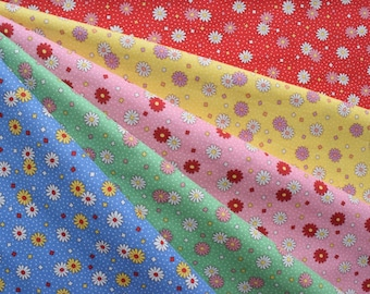 """Bundle of 1/8 Retro 30's Child smile Daisies and Dots in 5 Colorways. Approx. 9"""" x 21""""   Made in Japan."""