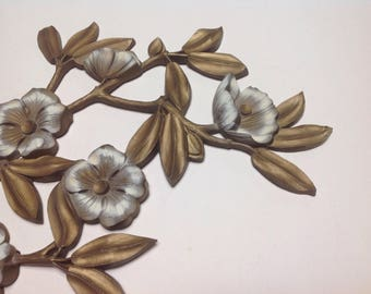 Large midcentury gold and white dogwood wallhanging, vintage gold and white flower plaque, gold and white flower wallhanging