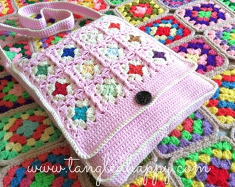 Instant Download - CROCHET BAG PATTERN Granny's Messenger Bag
