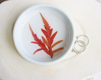 Orange Leaf Ring Dish, Ring Dish with Real Leaves, Pressed Flowers and Leaf, Engagement Gift, Nature Lover Gift