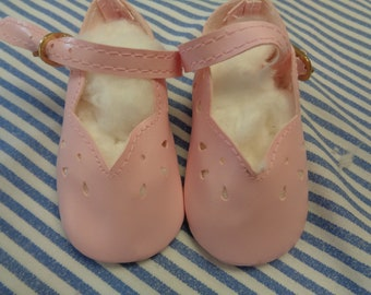 """Classy Style PINK Leather Doll Shoes  Vintage Doll Shoes  SIZE 3- Fits Apple valley Dolls 22"""""""