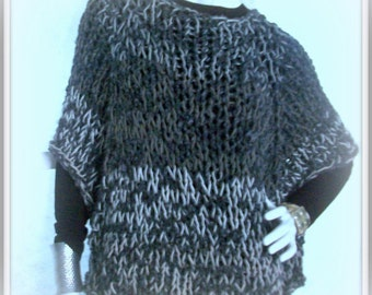 SWEATER WOMAN'S KNITTED Poncho With Sleeves Loose Knit Casual Fit