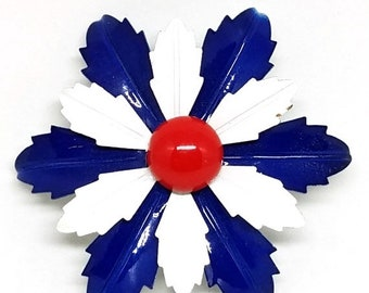 30% Off Sale Red White Blue Enamel Flower Power Vintage Brooch