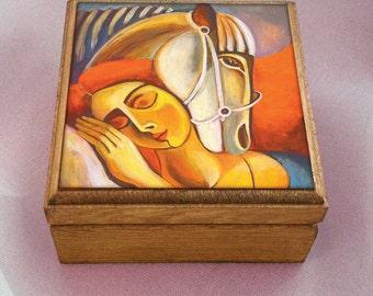 horse woman art, woman and horse painting, spiritual art, inspirational art, healing art, keepsake box, jewelry box, 3.5x3.5+