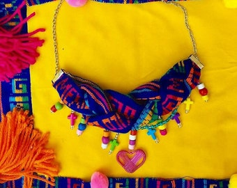 Blue Braided Mexican Necklace