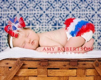 4th of July Bloomer, Ruffle Bum Baby Bloomer, Diaper cover, Newborn Bloomer, Toddler Bloomer. Baby Girl Bloomer, Ready to ship