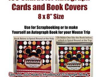 Character Autograph 8x8 Pages - DIY Disney Autograph Book - Character Autograph Cards - Instant Download