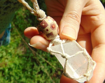 Handmade Macrame Hemp Cord Clear Quartz Necklace