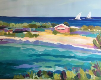 Coastal Pink Retreat Original Painting on 24x18 Paper by Karen Fields