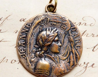 St Joan of Arc Battle Flag Medal - Patron of strong women, soldiers, prisoners & France - Sterling Silver Antique Replica