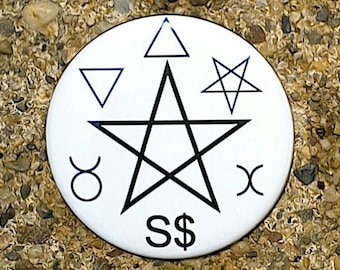 Gardnerian Pentacle Button