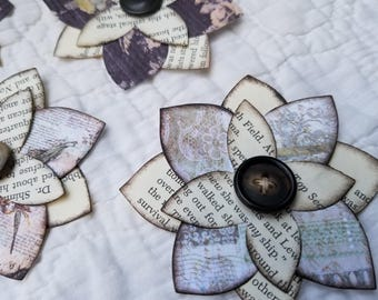 Paper Flower Embellishments with Vintage Book Petals - 5