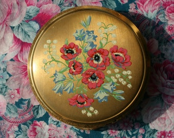 Vintage Kigu Pink Poppies Floral Gold Tone Powder Compact 1970's